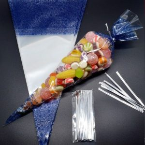 BLUE Cellophane Cone Bags