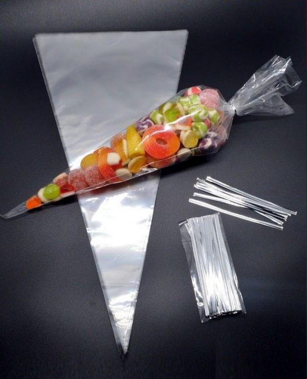 CLEAR Cellophane Cone Bags