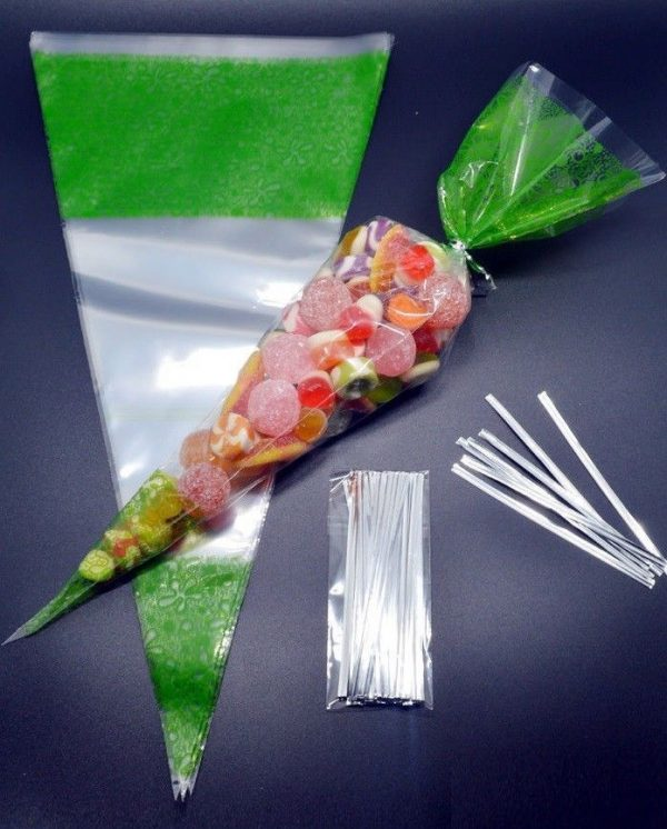 GREEN Cone Cellophane Sweet _ Party Bags