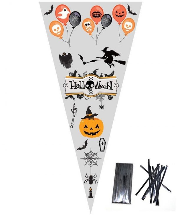 HALLOWEEN Large Cellophane Sweet Cone Bags