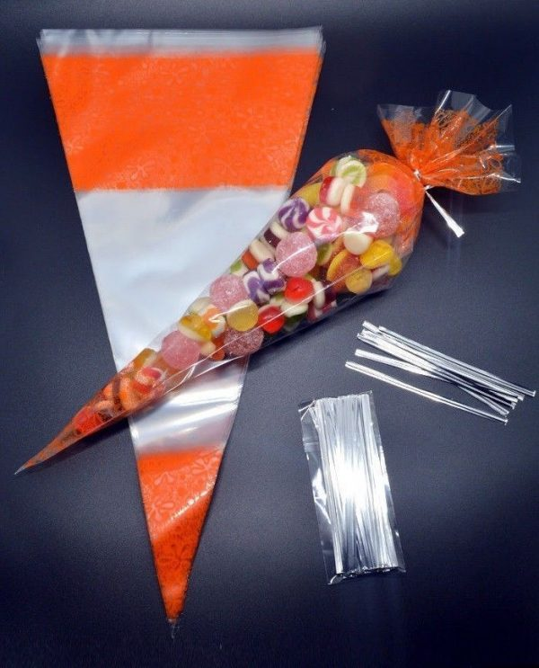 ORANGE Cone Cellophane Sweet _ Party Bags
