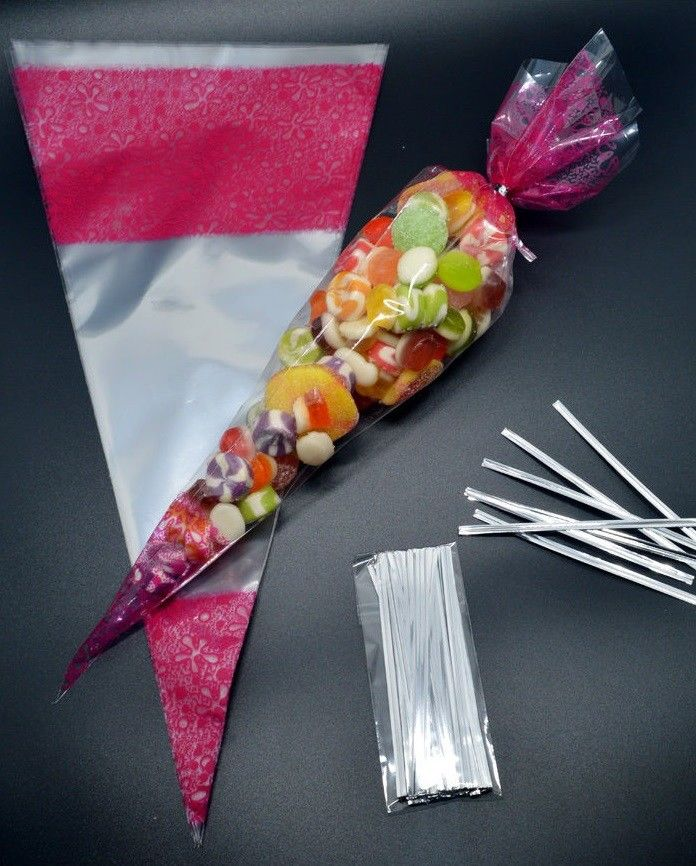 Party Bags Cellophane Bags Twist Ties Cone Bags Sweets CUPID LOVE