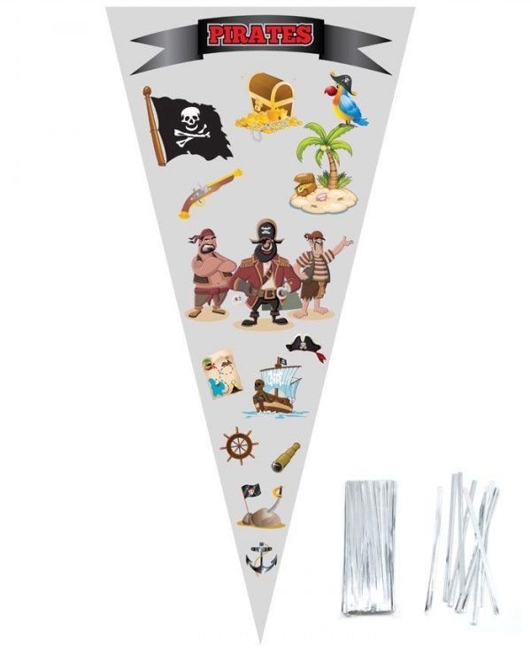 PIRATES Large Cellophane Sweet Cone Bags
